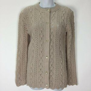 Vintage 70s Small Cable Knit Sweater Loose Weave